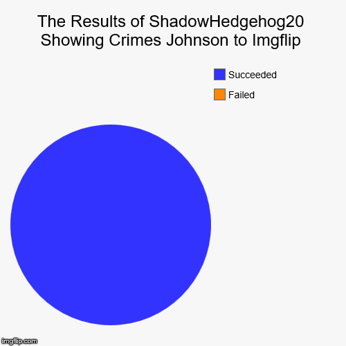 Someone had to show Crimes Johnson to Imgflip.. | The Results of ShadowHedgehog20 Showing Crimes Johnson to Imgflip | Failed, Succeeded | image tagged in funny,pie charts,crimes johnson,imgflip | made w/ Imgflip chart maker