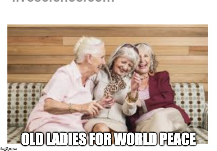 Old women |  OLD LADIES FOR WORLD PEACE | image tagged in old women | made w/ Imgflip meme maker