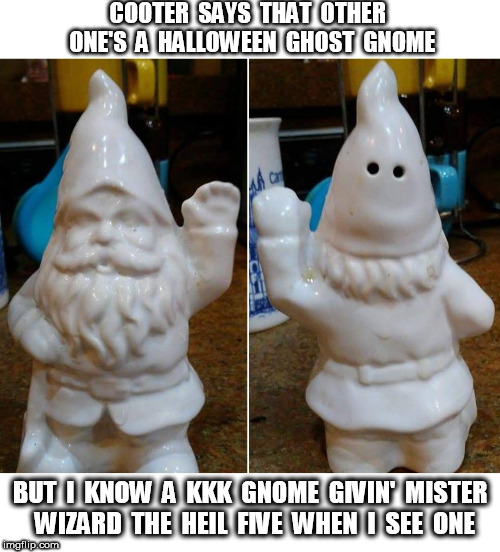 KKK Gnome |  COOTER  SAYS  THAT  OTHER  ONE'S  A  HALLOWEEN  GHOST  GNOME; BUT  I  KNOW  A  KKK  GNOME  GIVIN'  MISTER  WIZARD  THE  HEIL  FIVE  WHEN  I  SEE  ONE | image tagged in kkk,gnome,halloween,ehil,heil | made w/ Imgflip meme maker