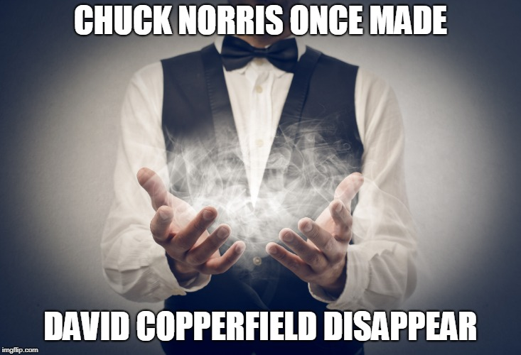 Chuck Norris David Copperfiled | CHUCK NORRIS ONCE MADE DAVID COPPERFIELD DISAPPEAR | image tagged in chuck norris,memes,magic,david copperfield | made w/ Imgflip meme maker