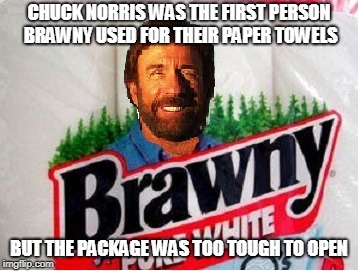 Chuck Norris Brawny | CHUCK NORRIS WAS THE FIRST PERSON BRAWNY USED FOR THEIR PAPER TOWELS BUT THE PACKAGE WAS TOO TOUGH TO OPEN | image tagged in chuck norris,brawny,memes,paper towels | made w/ Imgflip meme maker