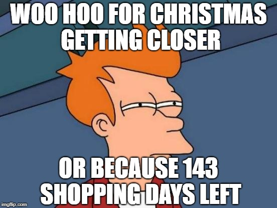Futurama Fry Meme | WOO HOO FOR CHRISTMAS GETTING CLOSER OR BECAUSE 143 SHOPPING DAYS LEFT | image tagged in memes,futurama fry | made w/ Imgflip meme maker
