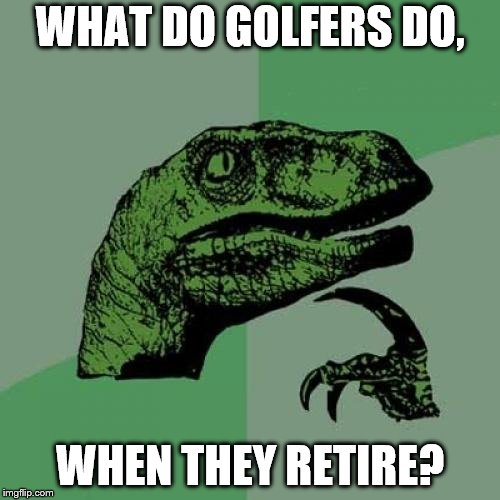 Philosoraptor Meme | WHAT DO GOLFERS DO, WHEN THEY RETIRE? | image tagged in memes,philosoraptor | made w/ Imgflip meme maker