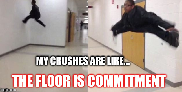 The floor is | MY CRUSHES ARE LIKE... THE FLOOR IS COMMITMENT | image tagged in the floor is,crush,commitment | made w/ Imgflip meme maker