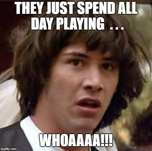 Conspiracy Keanu Meme | THEY JUST SPEND ALL DAY PLAYING  . . . WHOAAAA!!! | image tagged in memes,conspiracy keanu | made w/ Imgflip meme maker
