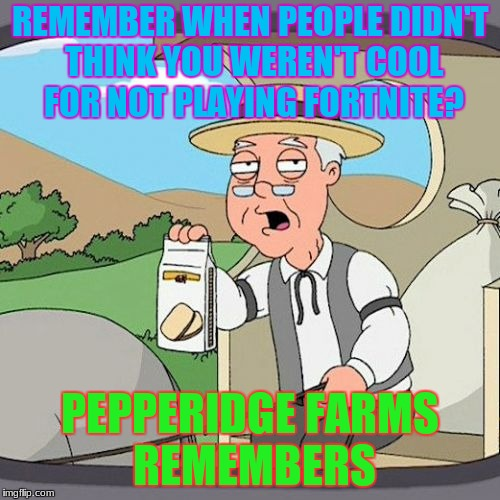 If you don't play FORTNITE your'e not cool | REMEMBER WHEN PEOPLE DIDN'T THINK YOU WEREN'T COOL FOR NOT PLAYING FORTNITE? PEPPERIDGE FARMS REMEMBERS | image tagged in memes,pepperidge farm remembers,fortnite | made w/ Imgflip meme maker