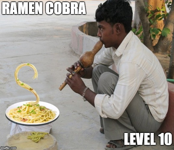 Ramen Cobra | RAMEN COBRA LEVEL 10 | image tagged in indian | made w/ Imgflip meme maker