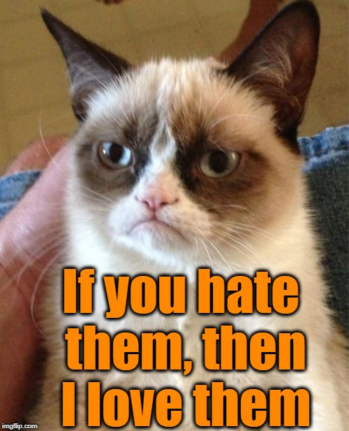 Grumpy Cat Meme | If you hate them, then I love them | image tagged in memes,grumpy cat | made w/ Imgflip meme maker