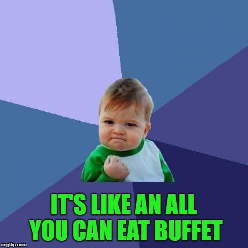 Success Kid Meme | IT'S LIKE AN ALL YOU CAN EAT BUFFET | image tagged in memes,success kid | made w/ Imgflip meme maker