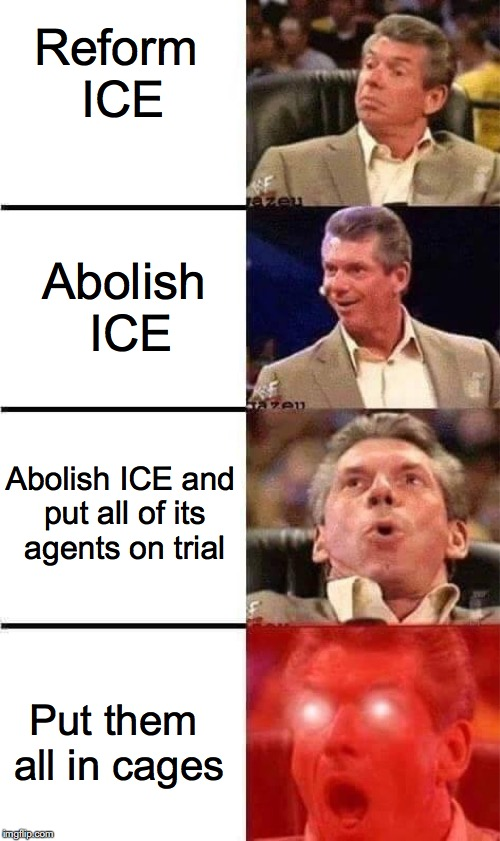 Abolish ICE | Reform ICE Abolish ICE Abolish ICE and put all of its agents on trial Put them all in cages | image tagged in vince mcmahon,immigration,ice,donald trump | made w/ Imgflip meme maker