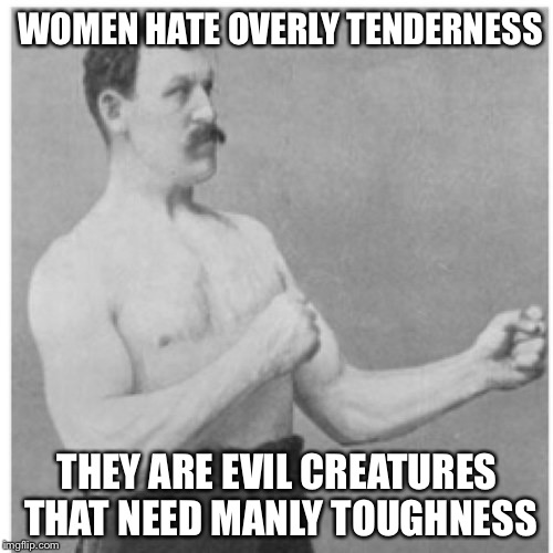 Overly Manly Man Meme | WOMEN HATE OVERLY TENDERNESS THEY ARE EVIL CREATURES THAT NEED MANLY TOUGHNESS | image tagged in memes,overly manly man | made w/ Imgflip meme maker