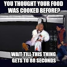 Back into the microwave | YOU THOUGHT YOUR FOOD WAS COOKED BEFORE? WAIT TILL THIS THING GETS TO 88 SECONDS | image tagged in memes,microwave,back to the future,ilikepie314159265358979 | made w/ Imgflip meme maker