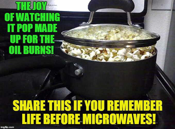 Born in the 1960s, grew up in the 1970s, survived the 1980s! | THE JOY OF WATCHING IT POP MADE UP FOR THE OIL BURNS! SHARE THIS IF YOU REMEMBER LIFE BEFORE MICROWAVES! | image tagged in stove popcorn,1970's,1980s | made w/ Imgflip meme maker