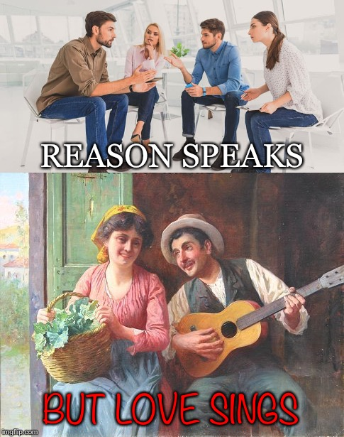 Says It All | REASON SPEAKS BUT LOVE SINGS | image tagged in reason,speaks,love,sings,conversation,serenade | made w/ Imgflip meme maker