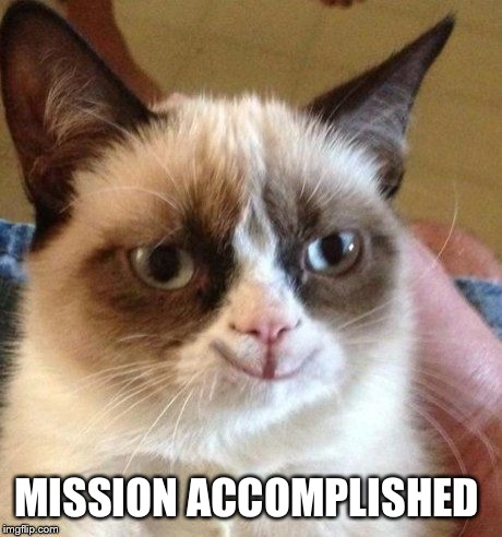 grumpy smile | MISSION ACCOMPLISHED | image tagged in grumpy smile | made w/ Imgflip meme maker