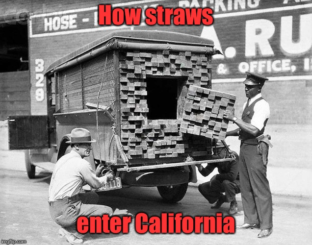 As we approach the Roarin' Twenties again | How straws enter California | image tagged in memes,straws,smuggle,secret compartment,contraband | made w/ Imgflip meme maker