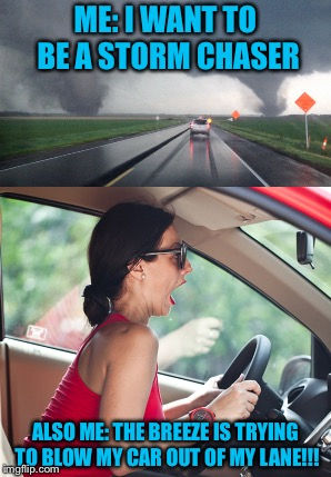 Me VS Me | ME: I WANT TO BE A STORM CHASER ALSO ME: THE BREEZE IS TRYING TO BLOW MY CAR OUT OF MY LANE!!! | image tagged in driver,wind | made w/ Imgflip meme maker
