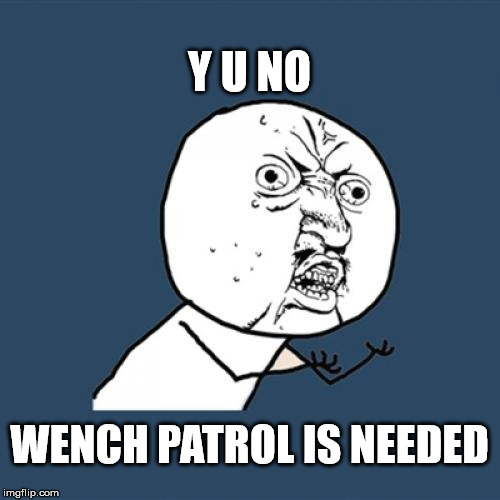 Y U No Meme | Y U NO WENCH PATROL IS NEEDED | image tagged in memes,y u no | made w/ Imgflip meme maker