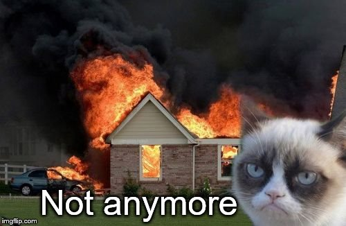 Burn Kitty Meme | Not anymore | image tagged in memes,burn kitty,grumpy cat | made w/ Imgflip meme maker