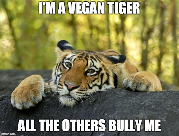 The Case Of the Vegan Predator | I'M A VEGAN TIGER ALL THE OTHERS BULLY ME | image tagged in confession tiger hi res,funny,memes,tiger,tiger week,tiger week 2018 | made w/ Imgflip meme maker