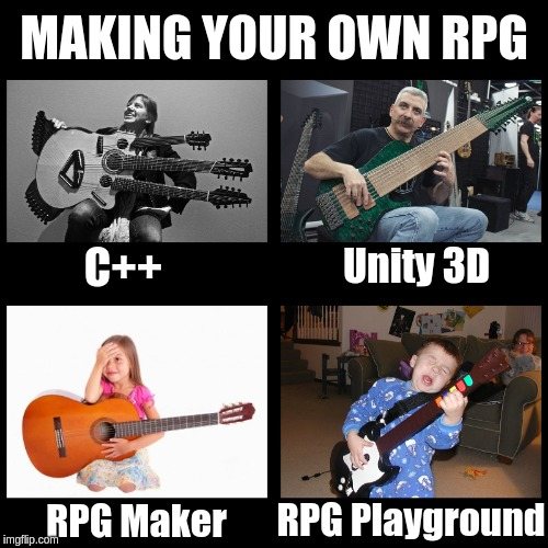Making your own RPG | MAKING YOUR OWN RPG C++ Unity 3D RPG Maker RPG Playground | image tagged in rpg,video games,computer games,guitar hero,guitars,programming | made w/ Imgflip meme maker