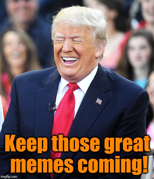 trump laughing | Keep those great memes coming! | image tagged in trump laughing | made w/ Imgflip meme maker