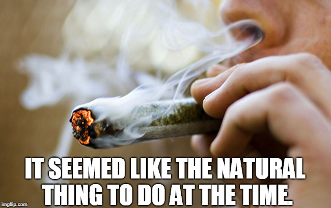 Don't Bogart that Joint, My Friend. Pass it Over to Me! | IT SEEMED LIKE THE NATURAL THING TO DO AT THE TIME. | image tagged in vince vance,commander cody,marijuana,big joint,weed,getting high | made w/ Imgflip meme maker
