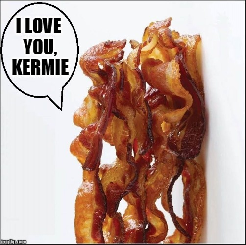 Nooooooooooooooooooooooooooo! | I LOVE YOU, KERMIE | image tagged in vince vance,bacon,miss piggy,kermit the frog,i love bacon | made w/ Imgflip meme maker