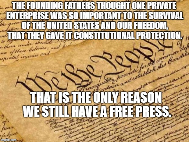 Constitution | THE FOUNDING FATHERS THOUGHT ONE PRIVATE ENTERPRISE WAS SO IMPORTANT TO THE SURVIVAL OF THE UNITED STATES AND OUR FREEDOM, THAT THEY GAVE IT | image tagged in constitution | made w/ Imgflip meme maker