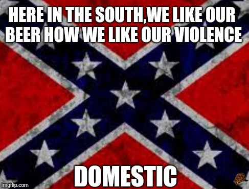 Here in the South... | HERE IN THE SOUTH,WE LIKE OUR BEER HOW WE LIKE OUR VIOLENCE DOMESTIC | image tagged in dixie flag,scumbag,beer,memes,funny memes,southern pride | made w/ Imgflip meme maker