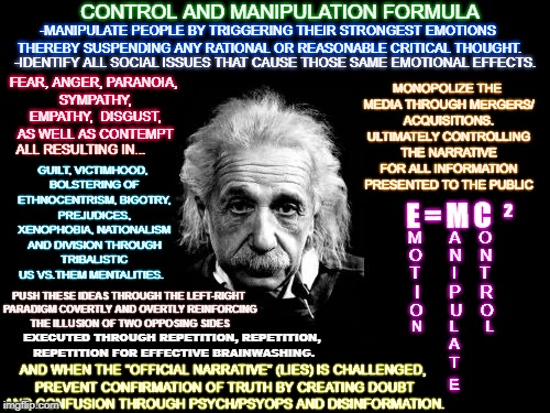 Albert Einstein 1 Meme | CONTROL AND MANIPULATION FORMULA -IDENTIFY ALL SOCIAL ISSUES THAT CAUSE THOSE SAME EMOTIONAL EFFECTS. PUSH THESE IDEAS THROUGH THE LEFT-RIGH | image tagged in memes,albert einstein 1 | made w/ Imgflip meme maker