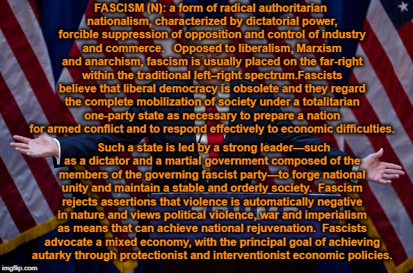 TL/DR: Donald Trump. | FASCISM (N): a form of radical authoritarian nationalism, characterized by dictatorial power, forcible suppression of opposition and control | image tagged in donald trump,fascism,america | made w/ Imgflip meme maker