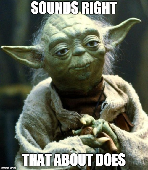 Star Wars Yoda Meme | SOUNDS RIGHT THAT ABOUT DOES | image tagged in memes,star wars yoda | made w/ Imgflip meme maker