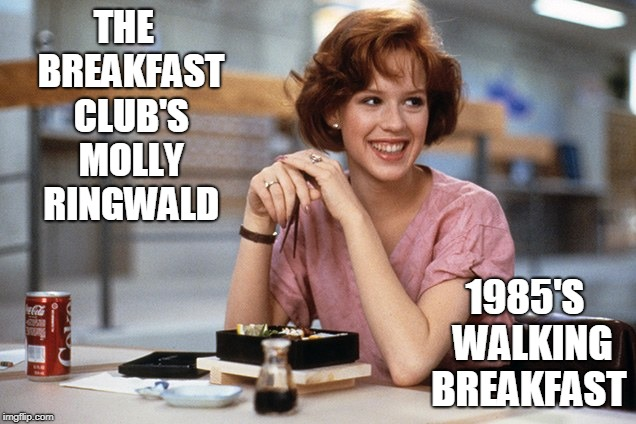 Welcome to the Molly Ringwald Fan Club |  THE  BREAKFAST CLUB'S MOLLY RINGWALD; 1985'S  WALKING BREAKFAST | image tagged in vince vance,molly ringwld,80s,1980s,breakfast club,redheads | made w/ Imgflip meme maker