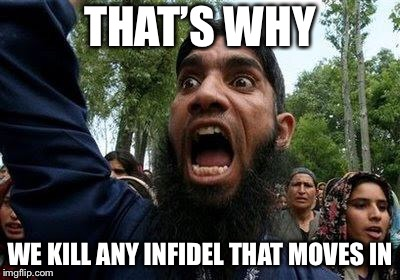 Angry Muslim | THAT'S WHY WE KILL ANY INFIDEL THAT MOVES IN | image tagged in angry muslim | made w/ Imgflip meme maker