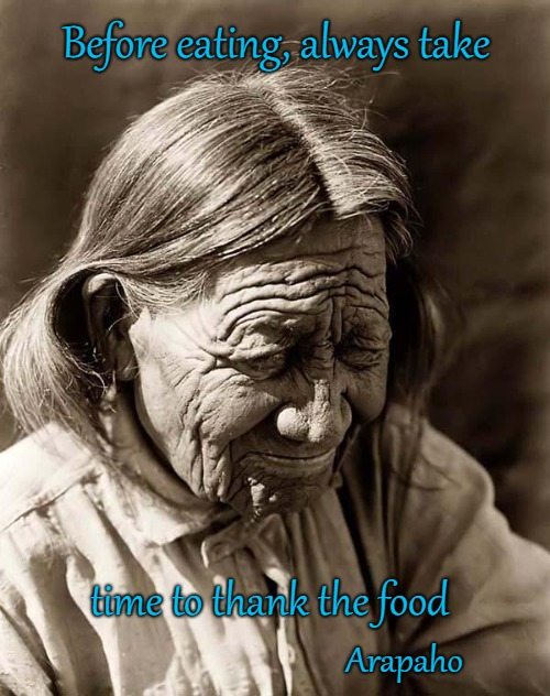 Arapaho Wisdom |  Before eating, always take; time to thank the food; Arapaho | image tagged in native american,native americans,chief,indian chief,tribe,indians | made w/ Imgflip meme maker