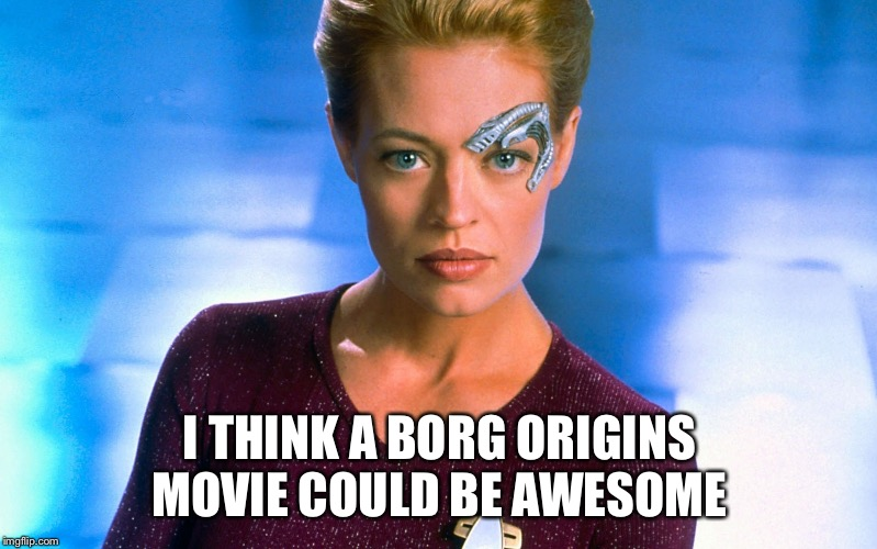 Seven Of Nine | I THINK A BORG ORIGINS MOVIE COULD BE AWESOME | image tagged in seven of nine | made w/ Imgflip meme maker