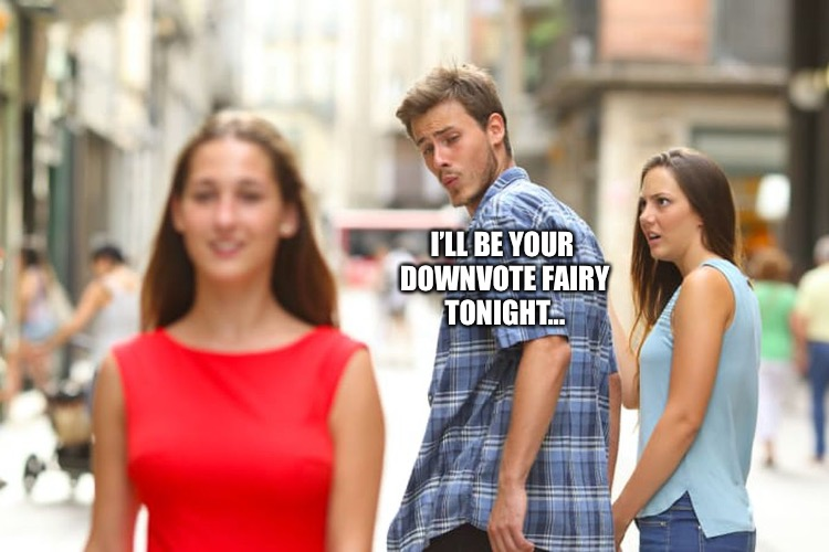 Distracted Boyfriend Meme | I'LL BE YOUR DOWNVOTE FAIRY TONIGHT... | image tagged in memes,distracted boyfriend | made w/ Imgflip meme maker