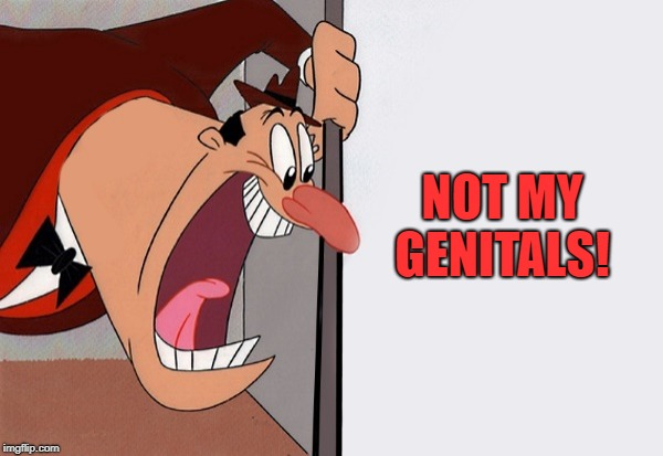 yelling guy | NOT MY GENITALS! | image tagged in yelling guy | made w/ Imgflip meme maker