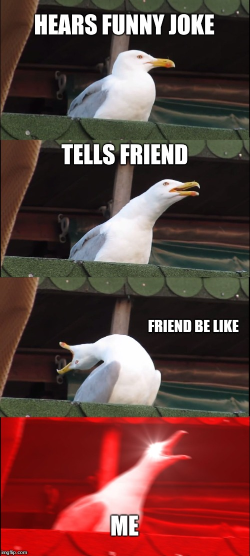 Inhaling Seagull Meme | HEARS FUNNY JOKE TELLS FRIEND FRIEND BE LIKE ME | image tagged in memes,inhaling seagull | made w/ Imgflip meme maker