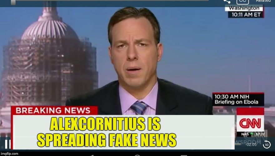 cnn breaking news template | ALEXCORNITIUS IS SPREADING FAKE NEWS | image tagged in cnn breaking news template | made w/ Imgflip meme maker