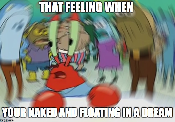 Mr Krabs Blur Meme Meme | THAT FEELING WHEN YOUR NAKED AND FLOATING IN A DREAM | image tagged in memes,mr krabs blur meme | made w/ Imgflip meme maker