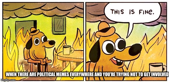 This is fine dog | WHEN THERE ARE POLITICAL MEMES EVERYWHERE AND YOU'RE TRYING NOT TO GET INVOLVED | image tagged in this is fine dog | made w/ Imgflip meme maker