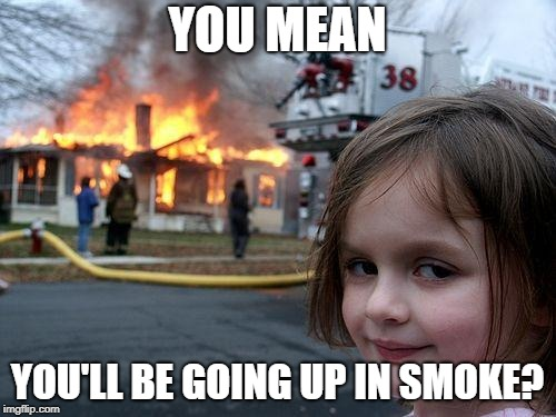 Disaster Girl Meme | YOU MEAN YOU'LL BE GOING UP IN SMOKE? | image tagged in memes,disaster girl | made w/ Imgflip meme maker