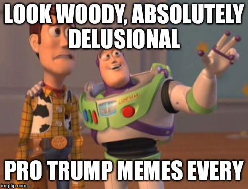 X, X Everywhere Meme | LOOK WOODY, ABSOLUTELY DELUSIONAL PRO TRUMP MEMES EVERYWHERE | image tagged in memes,x,x everywhere,x x everywhere | made w/ Imgflip meme maker