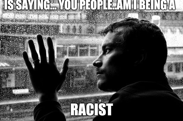 Over Educated Problems Meme | IS SAYING... YOU PEOPLE..AM I BEING A RACIST | image tagged in memes,over educated problems | made w/ Imgflip meme maker