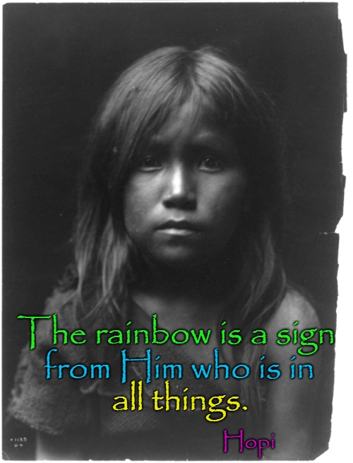 Hopi Saying | The rainbow is a sign Hopi from Him who is in all things. | image tagged in native americans,indian chief,chief,tribe,indians | made w/ Imgflip meme maker