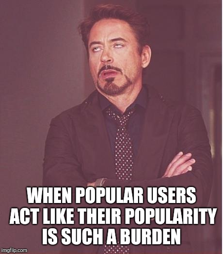 Face You Make Robert Downey Jr Meme | WHEN POPULAR USERS ACT LIKE THEIR POPULARITY IS SUCH A BURDEN | image tagged in memes,face you make robert downey jr | made w/ Imgflip meme maker