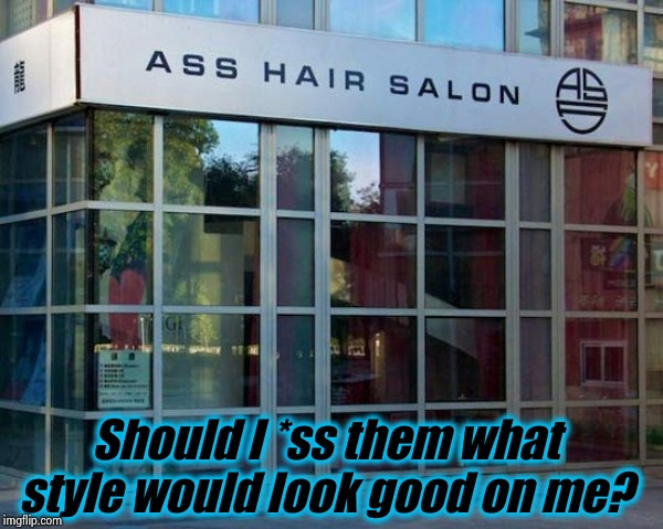 I think I found Dash a solution to his French problem! | Should I *ss them what style would look good on me? | image tagged in ss hair salon,memes,dashhopes,evilmandoevil,funny | made w/ Imgflip meme maker