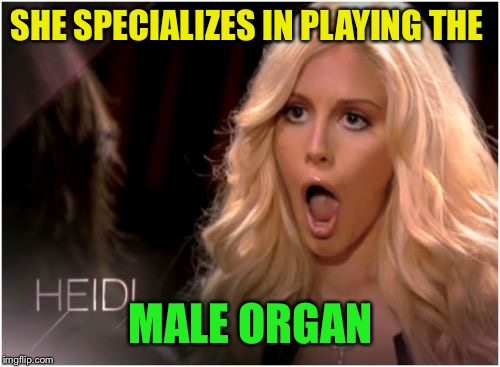 Blonde omg | SHE SPECIALIZES IN PLAYING THE MALE ORGAN | image tagged in blonde omg | made w/ Imgflip meme maker